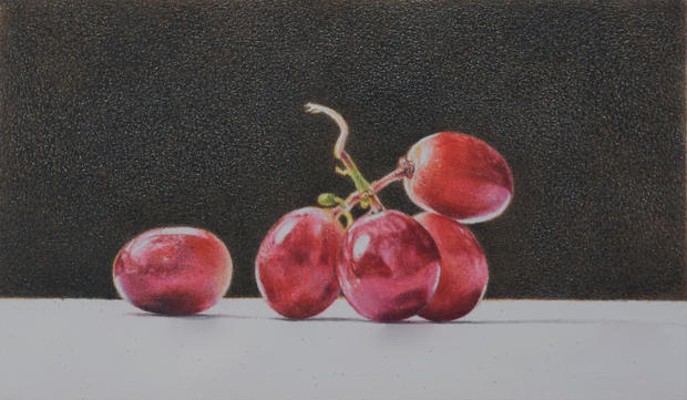 Lowel Tolstedt 'Five Grapes/ Light', 2019 Colored pencil 5 x 8 1/4 inches  Sold
