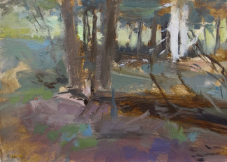 Neil Riley 'Woods into Meadow' Oil on panel 5 7/8 x 8 1/4 inches  $850