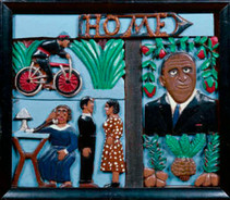 """Elijah Pierce """"Three Ways to Send a Message: Telephone, """"Telegram, Tell-a-Woman"""", c. 1948 Painted bas relief woodcarving 15 1/2 x 18 inches"""