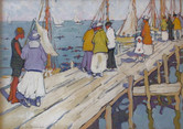 """Jane Peterson """"Boat Landing, Edgartown"""", 1916 Gouche on paper 17 x 23 1/4 inches Signed lower left: Jane Peterson"""