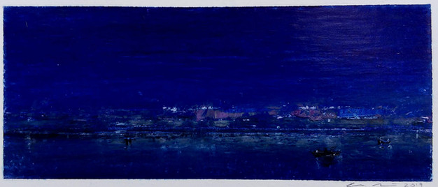Eric Barth  'Night Always Comes', 2019  Oil pastel and soft pastel on paper 2 x 4 3/4 inches  $550