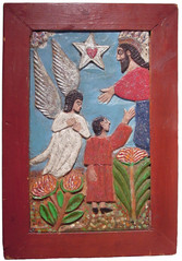 """Elijah Pierce """"Christ with Angel"""", 1968 Painted bas relief woodcarving 24 3/4 x 16 3/4 inches"""