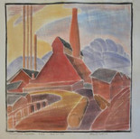 """Morgantown Factories"" Woodcut Circa 1985-1988 (block cut 1928) 11 7/8 x 13 11/16 inches  Sold"