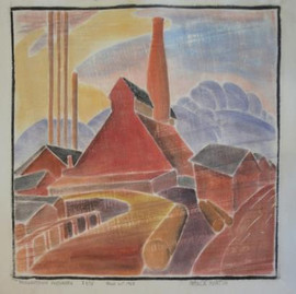 Morgantown Factories Grace Martin Taylor Woodcut Circa 1985-1988 (block cut 1928) 11 7/8 x 13 11/16 inches  Sold