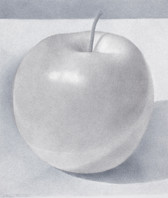 """Lowell Tolstedt """"Composition with Big Apple"""", 2015 Goldpoint and silverpoint 6 3/4 x 5 3/4 inches  $1,650"""