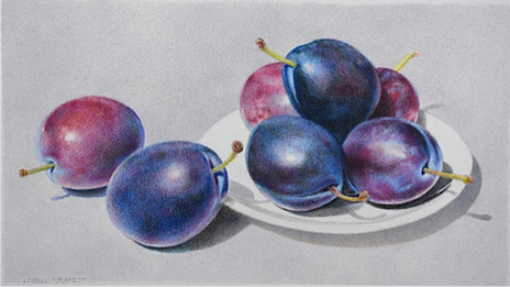 """Lowell Tolstedt """"Plate with Plums"""", 2017 Colored pencil 4 5/8 x 8 3/8 inches  $2,950"""
