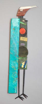 Tamara Jaeger 'Red Moon Bird', 2016 Found and painted wood assemblage 37 x 11 x 1 inches      $1,400