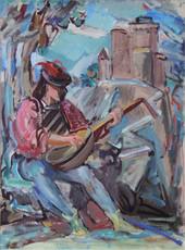 """Troubadour"", c.1950s/1965  Acrylic 20 1/2 x 14 1/2 inches  P.O.R."