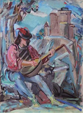 Edmund Kuehn (Historic, 1916-2011) 'Troubadour', c.1950s/1965  Acrylic 20 1/2 x 14 1/2 inches  P.O.R.
