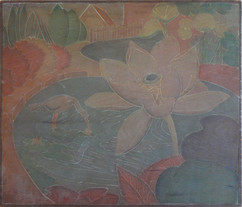 Lily Grace Martin Taylor Woodblock/ Side 1 Block cut 1928 13 3/4 x 12 inches  On Side 2 of this Woodblock: Bathers  Sold