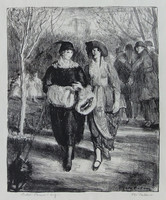 """George Wesley Bellows (American, 1882-1925) """"Spring, Central Park"""", 1921 Lithograph on paper 8 1/2 x 7 inches  Signed lower right: Geo. Bellows"""