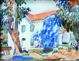 "Alice Schille (1869-1955) ""Sunlit House"", circa 1916-18  Watercolor 5 x 6 inches Signed lower right: A. Schille   P.O.R."
