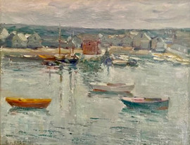 """Charles S. Kaelin  (American, 1858-1929) """"Harbor Boats"""" Oil on panel 11 x 14 inches Signed lower left: C.S. Kaelin  P.O.R."""
