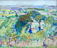 """""""Provence"""", c. 1914  Watercolor 17 ½ x 20 ½ inches Signed lower right: A. Schille P.O.R."""