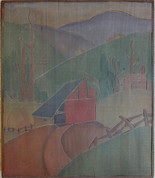 Red Barn Grace Martin Taylor Woodblock / Side 1 Block cut 1927 13 3/4 x 12 inches  Side 2 of this Woodblock: Trinity Episcopal Church  $3,500.00