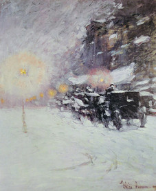 """Childe Hassam """"Winter, Midnight"""", 1894 Oil on canvas 22 x 18 inches"""