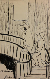 """James Thurber (1894-1961)  """"Au Quatrieme"""" , Circa 1940 Ink on paper 14 x 9 inches Signed lower left: Thurber Published: Thurber & Company  P.O.R."""