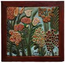 """Elijah Pierce """"Anniversary Flowers (Birthday Flowers)"""", 1970 Painted bas relief wood carving 18 x 19 1/4 inches"""