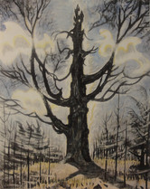 """Charles E. Burchfield """"The Tree"""", 1946 Watercolor 35 1/2 x 28 1/2 inches Signed in monogram and dated lower left: CEB 1946"""