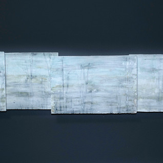 Carol Snyder (Contemporary) 'Heron Rookery', 2020 Wall piece: Porcelain tiles, colored porcelain slips, inlaid line-work 6 1/4h x 36w inches  $1,000