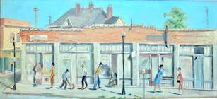 "Roman Johnson (1917-2005) ""East Side Street Scene (Spirit Temple)"", circa 1960s  Oil on canvas 24 x 52 inches Signed lower right: ROMAN and verso: ROMAN 561 E Spring  P.O.R."