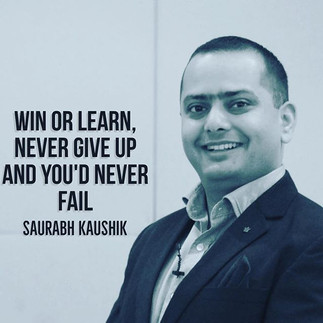 Win or learn, never give up and you'd ne