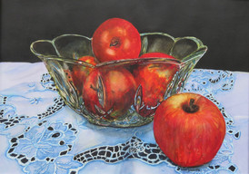 Crystal Bowl with Apples