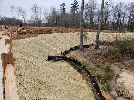 Erosion Control, RipRap Installation, Rolled Matting, Seeding, Silt Fence Installation