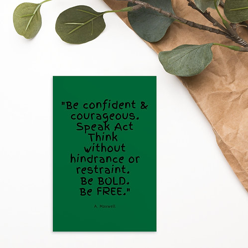 Be Bold Green Postcard