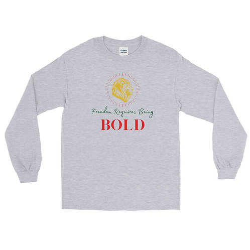 Freedom Requires Being Bold As A Lion Green Long Sleeve Shirt