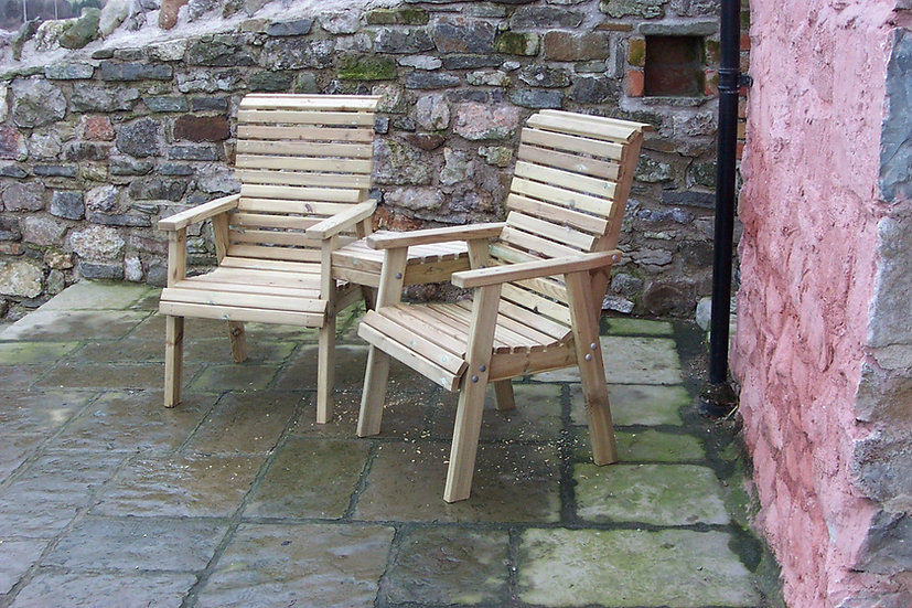 Hardwood High Back Lovers Garden Chairs | Custom Garden Chairs | High Back Lovers Chair Garden Set