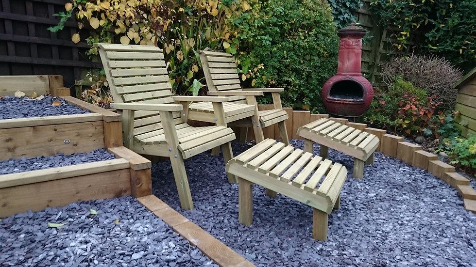 High Back Wooden Garden Duo Set | Custom Garden Chairs | High Back Relaxing Duo Set