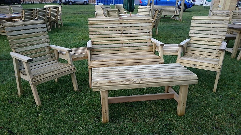 High Back Conversation Set with Large Coffee Table   Custom Garden Chairs
