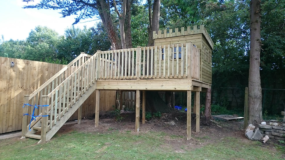 Bespoke Castle Treehouse   Wooden Childrens Playhouse