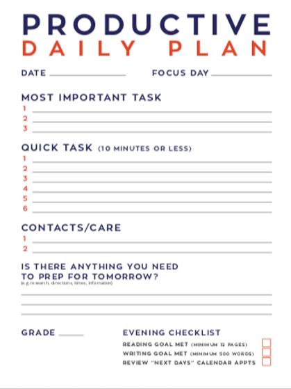 Daily Productivity Sheet
