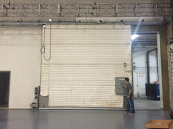 Studio door with Person for scale