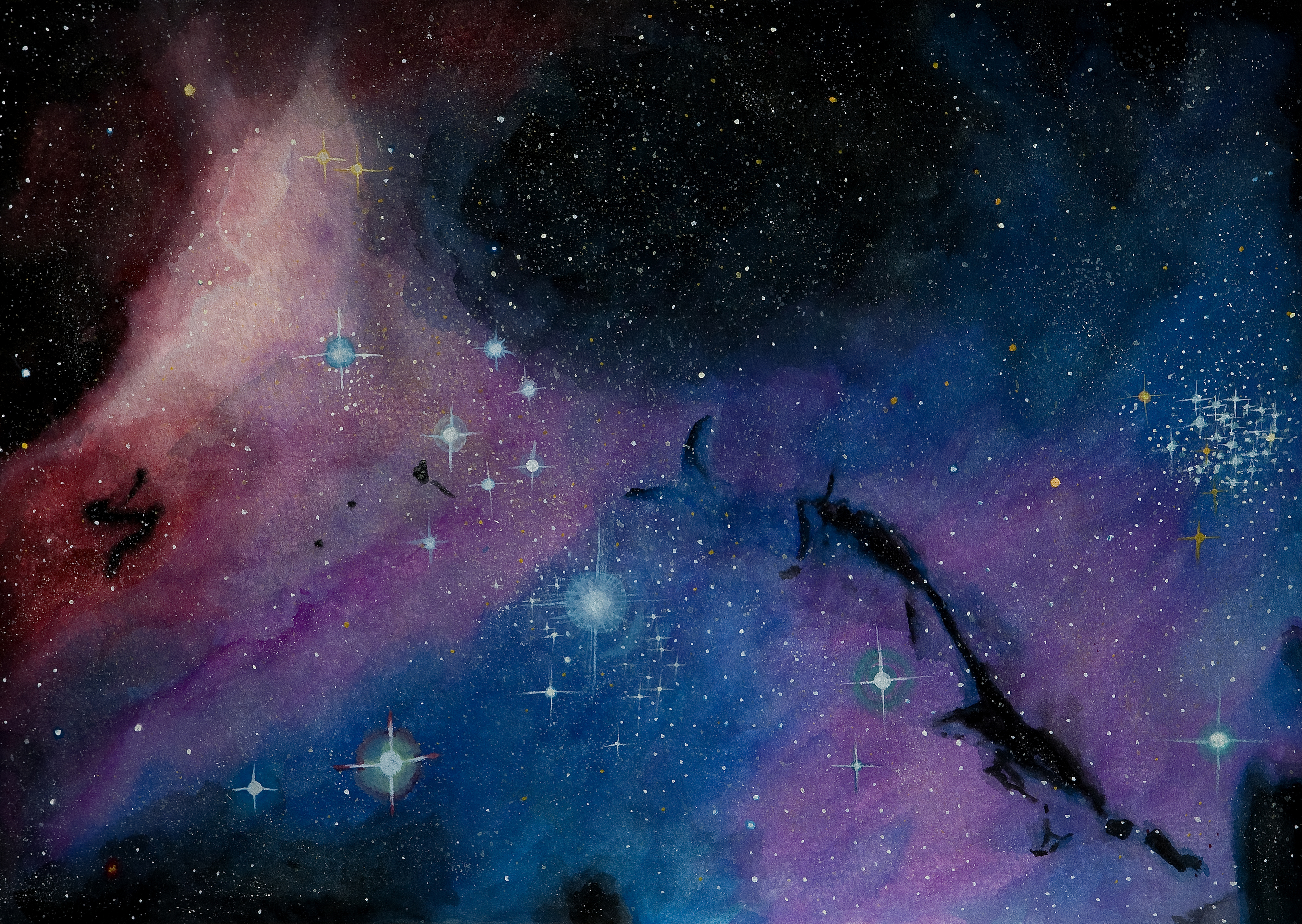 수채화로 담아본 우주