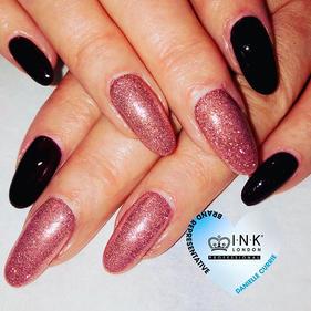 Dark cherry & rose gold glitter nails