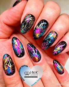 Firework nails using ink London foils