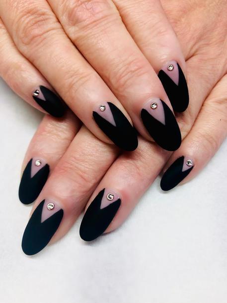 Velvet matte top coat and crystal nails