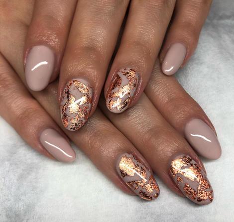 Copper & nude nails