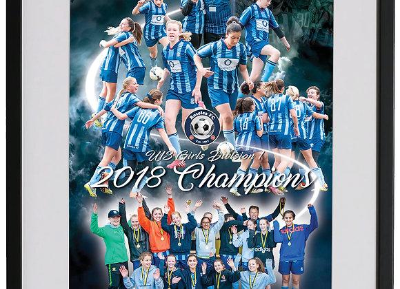 U13 Girls Champions 8in x 12in framed print