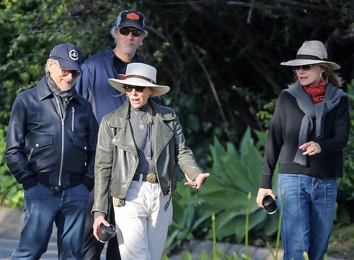 Steven Spielberg Out Walking with Michelle Pfeiffer, Kate Capshaw + David Kelly - Pacific Palisades