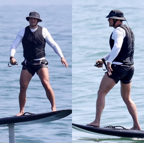 Orlando Bloom Surfs His New Battery Powered Hydrofoil Surfboard In Santa Barbara