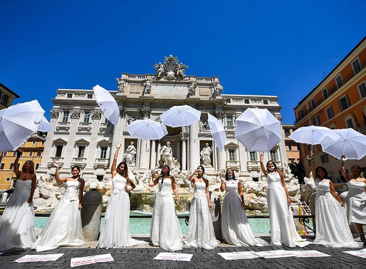 Italian Brides-to-Be Protest Wedding Cancellations Amid Coronavirus Restrictions in Rome - Italy