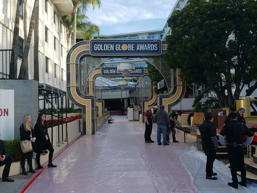 Ricky Gervais + BHS photos of the red carpet roll out for the 77th Annual Golden Globe Awards