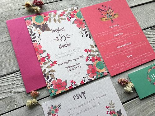 Vibrant Blooms Wedding Invitation