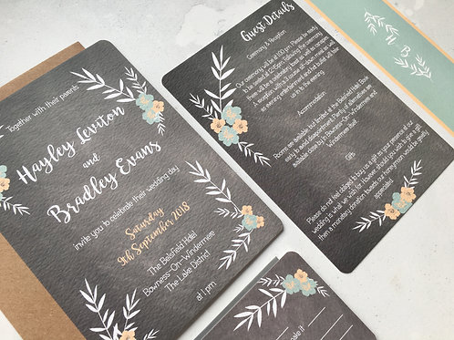 Floral Chalkboard Invitation Bundle