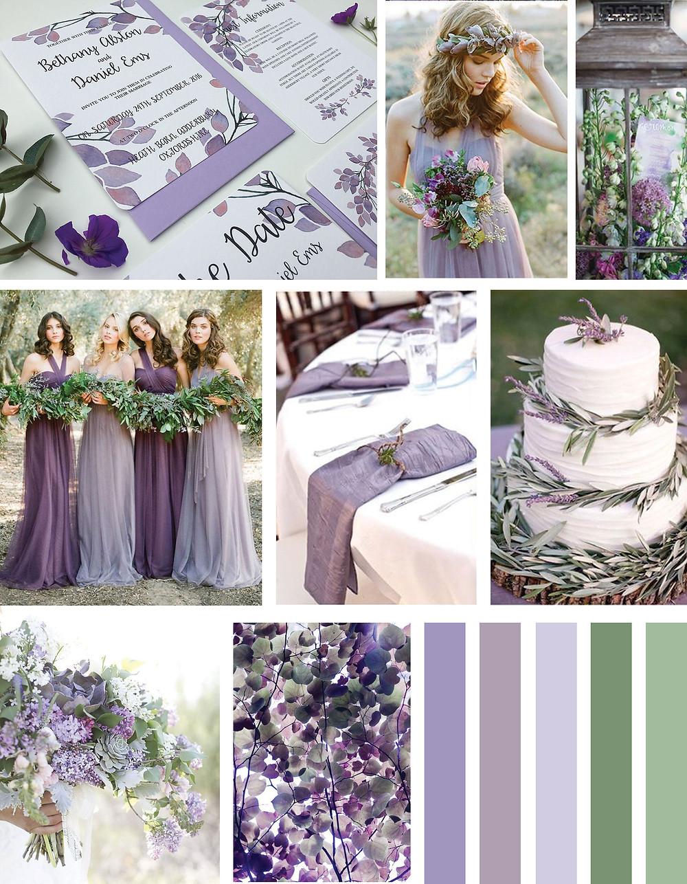 Violet Wedding Invitation Mood Board
