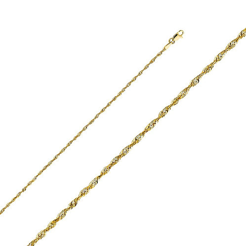 14k Yellow Gold 2-mm Solid Rope Chain Necklace